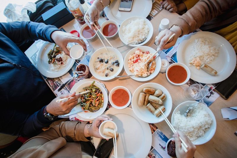 Together enjoy the food Friendship Spend Time Time Lunch Together Photography Moment Memory Food And Drink Food Table Meal Freshness High Angle View Plate Wellbeing Group Of People Drink Healthy Eating Lifestyles Sitting Togetherness Eating Furniture Friendship Real People Ready-to-eat Adult