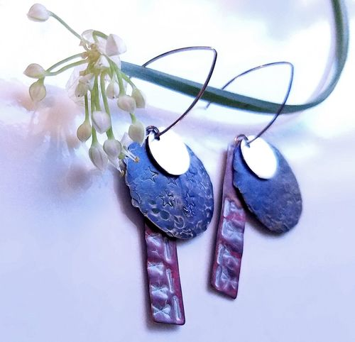 Stars and Stripes Earrings, by RaDesign. Sterling, Copper, and Antique Bronze. Exclusively Handmade Close-up Copper Art Day Earrings Exclusive  Flower Handmade Jewellery Indoors  Jewelry Design Jewelrydesigner No People Sterling Silver Table RaDesign Fine Art