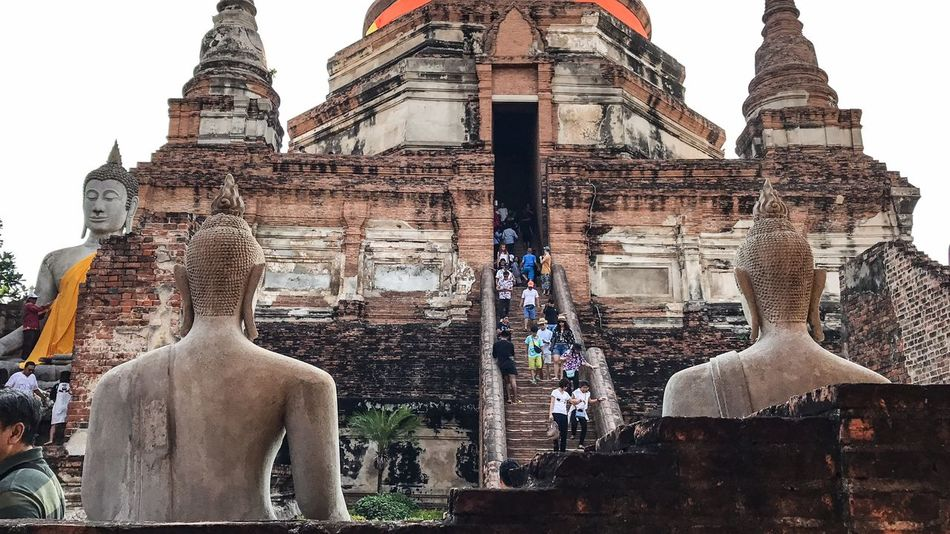 Religion Architecture Spirituality Building Exterior Built Structure Statue Place Of Worship Travel Destinations Old Ruin Sculpture Day Outdoors No People Thailand Ayutthaya Believe Old Place Trip Scenics History Architecture Amazing Travel Wat Thai Buddha