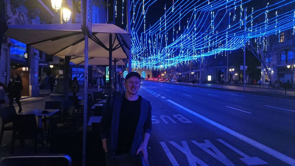 Christmas lights in Madrid with Jamie Gingers On Tour Madrid At Night Illuminated Night Looking At Camera Front View Portrait Incidental People Nightlife