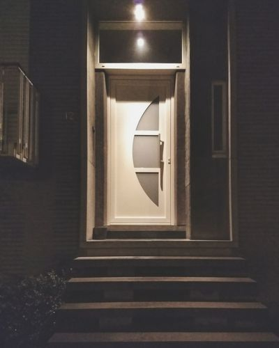 Door Front Door Dark Night Illuminated Architecture Steps And Staircases Staircase Steps Entryway Bannister Railing