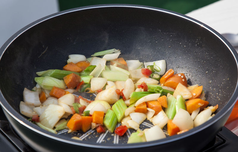 Close-Up Of Sliced Vegetables In Frying Pan
