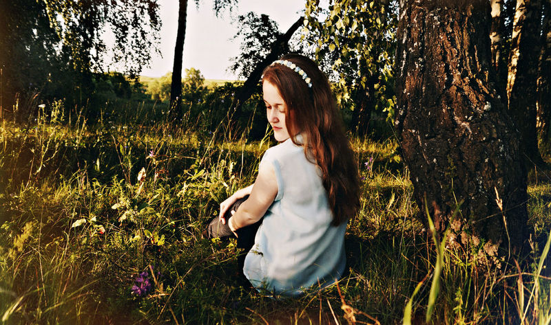 Beautiful Beauty In Nature Casual Clothing Day Flowers Forest Forestwalk Girl Grass Grassy Hair Landscape Lifestyles Long Hair Nature Outdoors Russia Russian Girl Summer Summertime Sunny Day Tranquil Scene Tranquility Tree