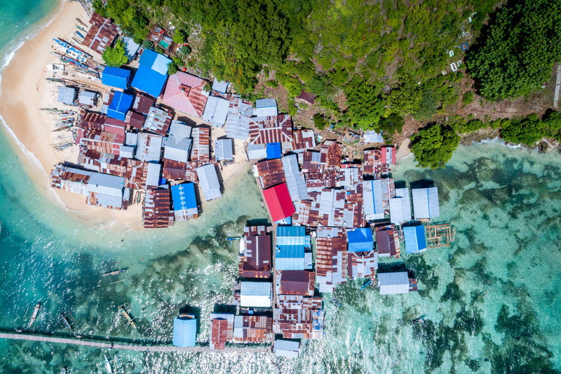 Aerial view of houses at beach