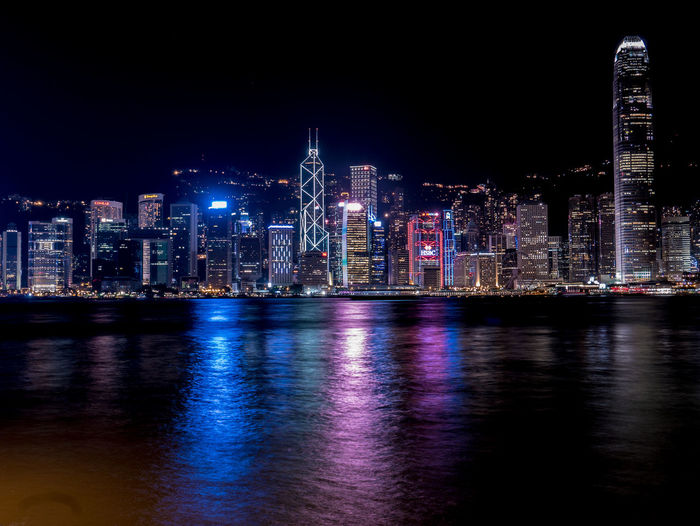 A very common view but always new HongKong Nightphotography Victoria Harbour Centraldistrict Cityscape Illuminated Night Nightview Reflection Skyscraper Water