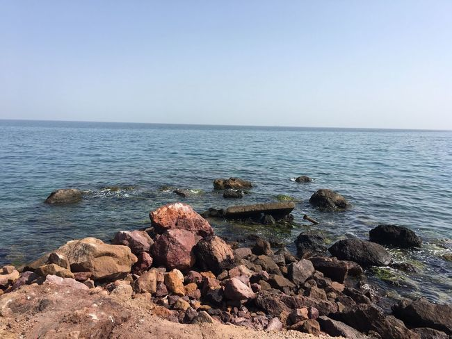 Sea Water Horizon Over Water Rock - Object Nature Tranquil Scene Beauty In Nature Scenics Tranquility Copy Space No People Day Clear Sky Outdoors Sky Pebble Beach