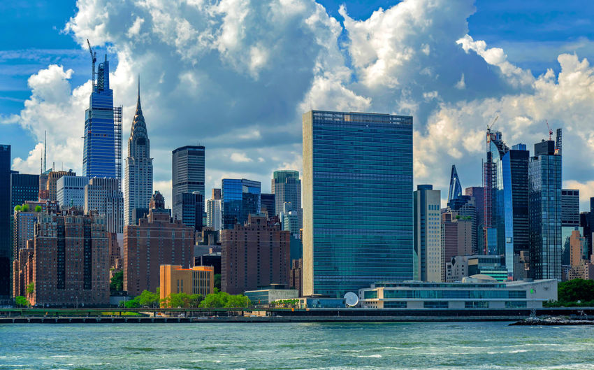 The united nations building, and midtown manhattan skyline