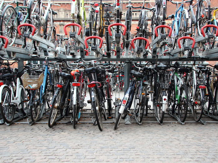Bicycles Parked On Rack