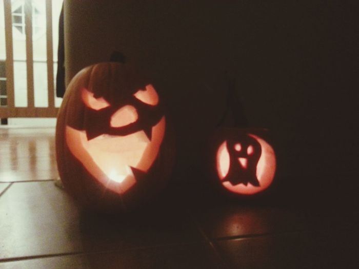 """Cameron wanted a """"bad guy face"""" and Gavin pointed at a picture of a ghost when we were talking designs. They both love them. Halloween Jackolanterns"""