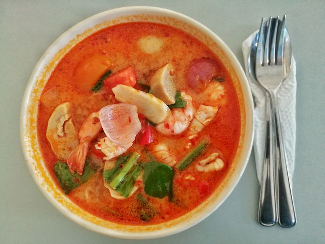COOKED Food Soup Ready-to-eat Thai Food Style Tomyamsoup  Tomyamseafood Tomyamkung Tomyam Noodles Tomyam Fork Food And Drink Directly Above No People Healthy Eating Indoors  Freshness Close-up Day Bowl Food And Drink Spoon And Fork