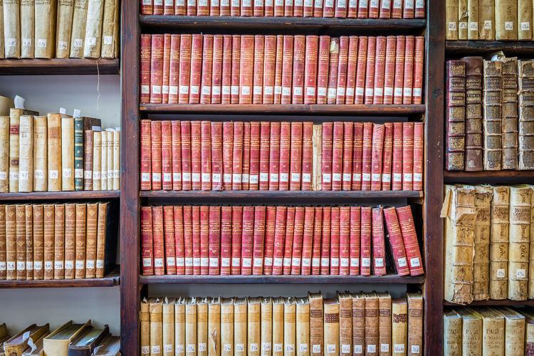 Abundance Ancient Books Archive Arrangement Backgrounds Books Bookshelf Collection Culture Display Education Full Frame In A Row Large Group Of Objects Library Multi Colored No People Order Repetition Retail  Shelf Shelfie Side By Side Variation