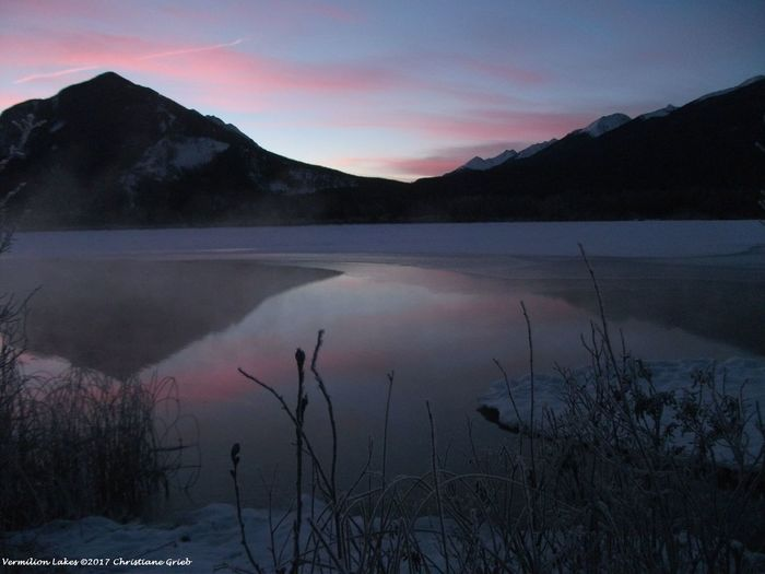 Banff N P. Nature Sunrise Tranquility Vermilion Lakes Winter Sunrise In The Mountains