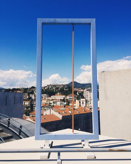 France Nice Sky Architecture Built Structure Blue Building Exterior Mountain Day No People Sunlight Outdoors Mountain Range Roof Nature Water Cityscape Frame In Frame Frame your city Nice France