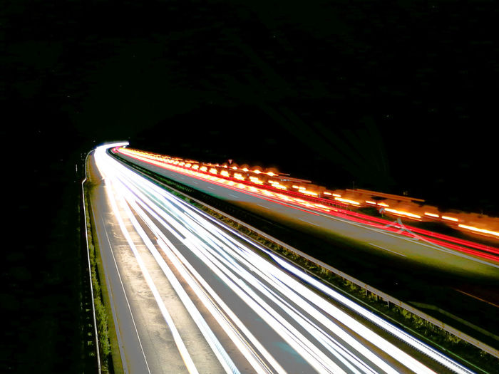Illuminated City Motion Multi Colored Long Exposure Speed Light Trail Blurred Motion Road Red Vehicle Light