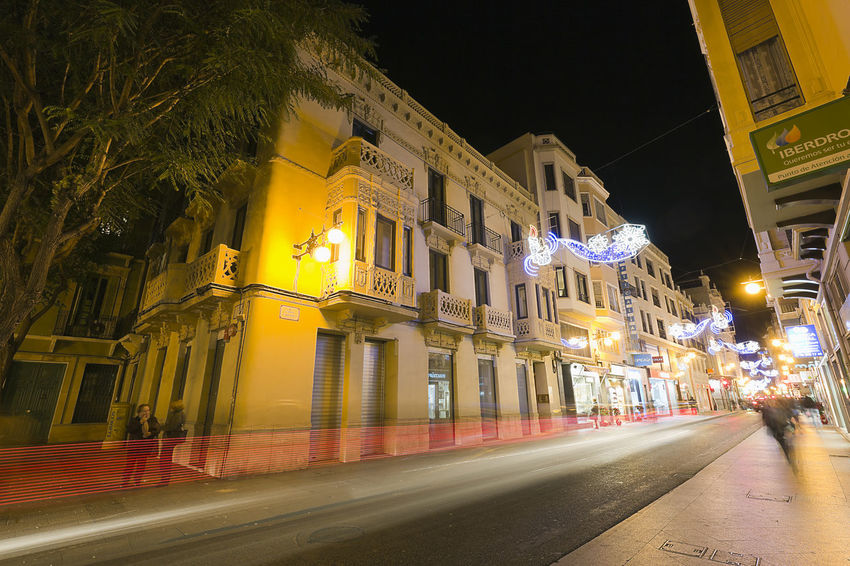 Elche, Spain. December 18, 2017: Street Corredora at night with Christmas lights in the city of Elche, province of Alicante. Alacant Alicante Alicante Province Spain Christmas Elche Elx SPAIN Spanish Travel Architecture Building Exterior Built Structure Chrismas Lights Christmas Decoration Christmas Ornament City Illuminated Night No People Outdoors Road Street Street Light The Way Forward Travel Destinations