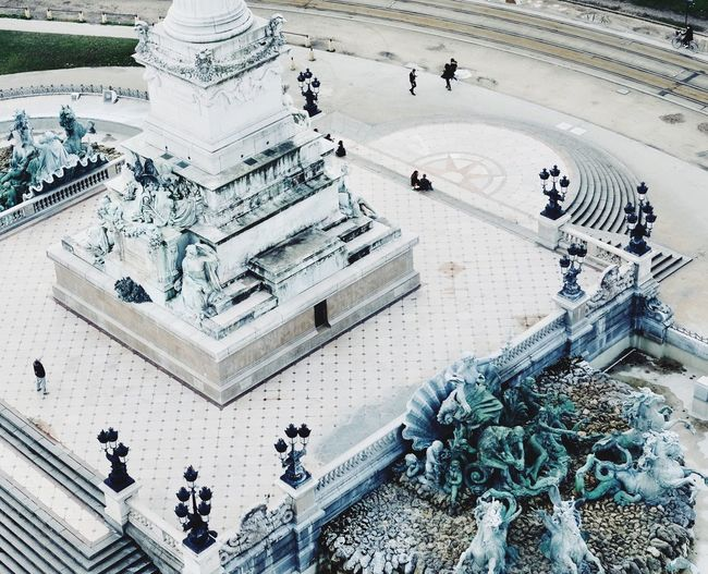 High angle view of statue in city