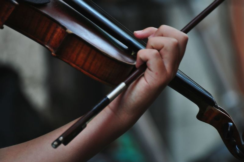 Close-up of hand holding violin