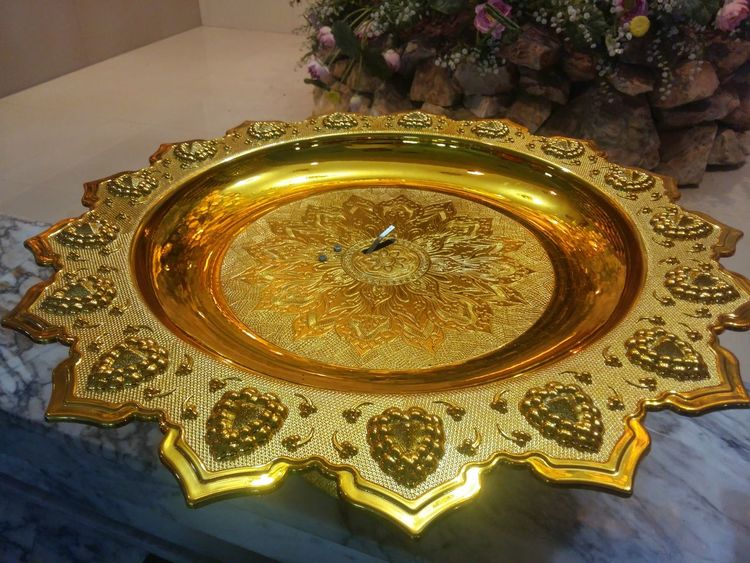 gold tray in temple Buddhism BUDDHISM IS LOVE Close-up Gold Gold Colored Indoors  No People Pan Salver Temple Thailand Tray
