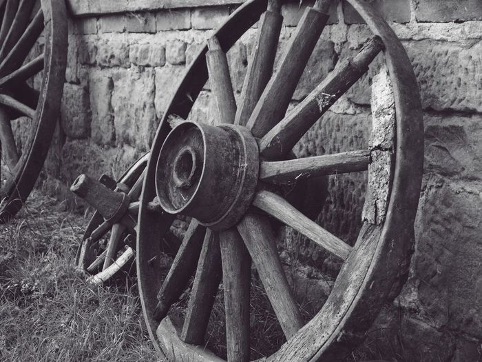 Close-up of abandoned wheel on field