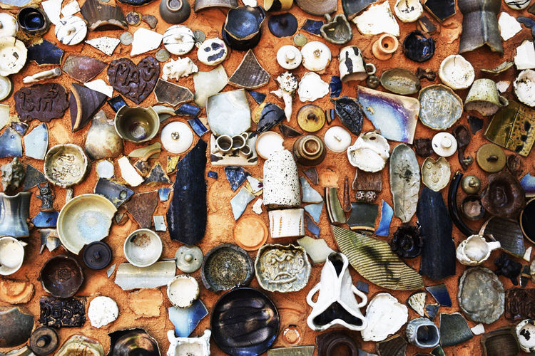 High angle view of broken kitchen utensils at home