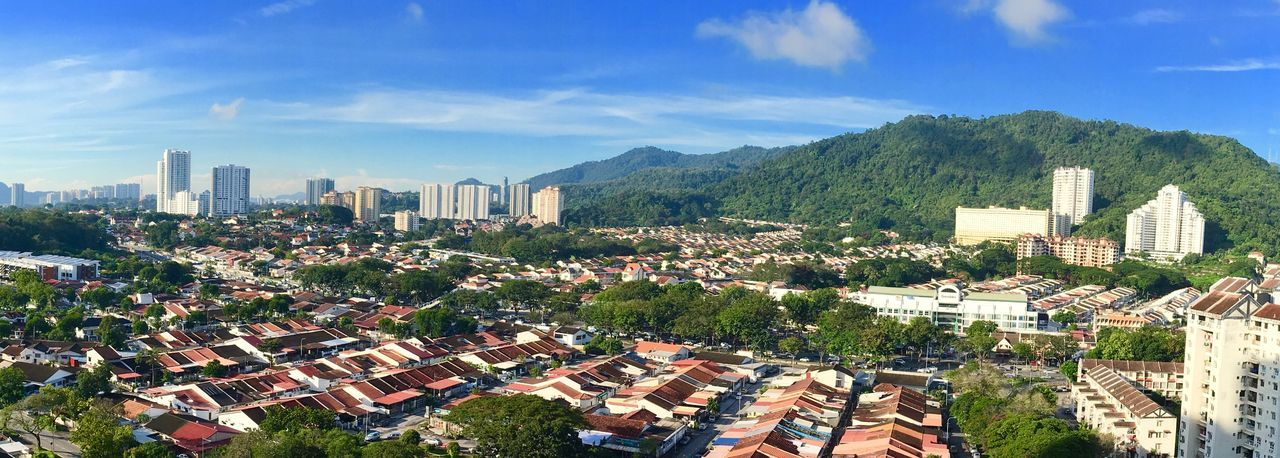 Panorama photo, location Jelutong Georgetown Penang Malaysia. Penang Malaysia Jelutong Georgetown Panorama Building Exterior Built Structure Architecture City Sky Building Cloud - Sky Cityscape Plant Nature Day Tree Landscape Residential District Office Building Exterior Crowd Sunlight Outdoors Growth Crowded
