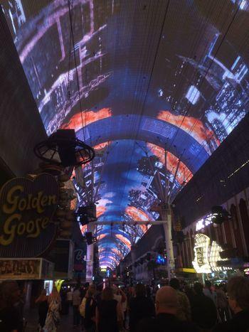 Art Is Everywhere City Life Illuminated Low Angle View Night Freemont Street Las Vegas The Street Photographer