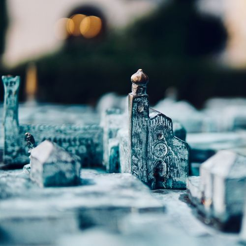 Figurines of church and cemetery