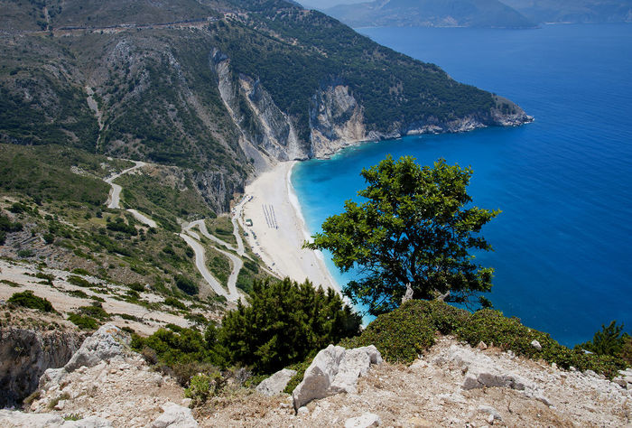 Holiday Beach Beauty In Nature Greece High Angle View Ionian Islands Ioniansea Kefalonia Landscape Myrtos Beach Nature Outdoors Rock - Object Scenics Sea Water