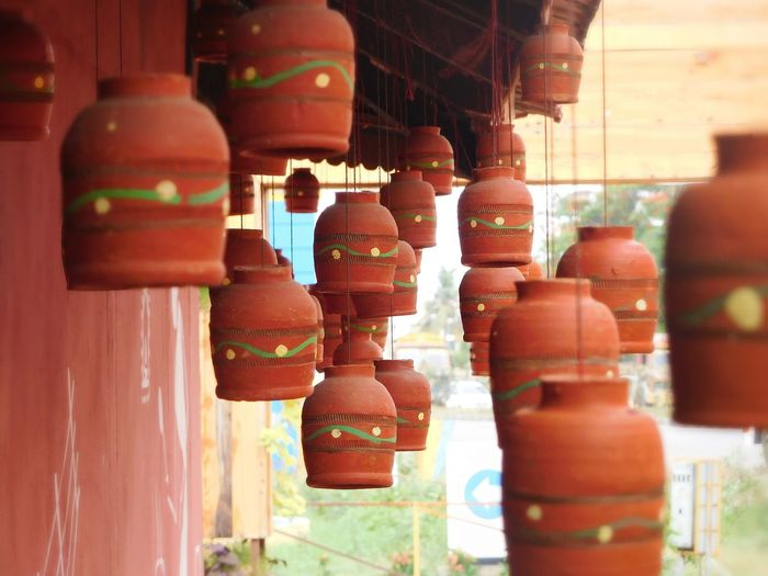 Hanging No People Day Close-up Retail  Outdoors Earthenware Clay Tradition Pots Hangingpots India