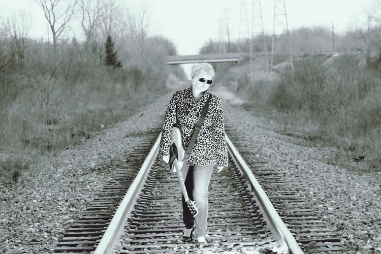 Rocker on the Railroad Outside Photography Eye For Photography Eyeemphotography Urban Beautiful Railway Railroad Railroad Track Railway Track Railroad Tracks Railroads Railroad Love Rails Rail Road RailRoadTracks Blackandwhite Photography Black And White Collection  Black And White Photography Rockergirl Rockerchick Rocker Girl Rockerchic Blackandwhite RockerLook Guitar