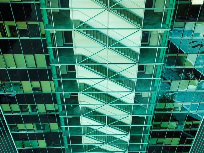 Stairs Full Frame Architecture Built Structure Building Exterior Pattern Building Backgrounds No People Shape Modern Low Angle View Geometric Shape Abstract City Glass - Material Office Building Exterior Construction Industry