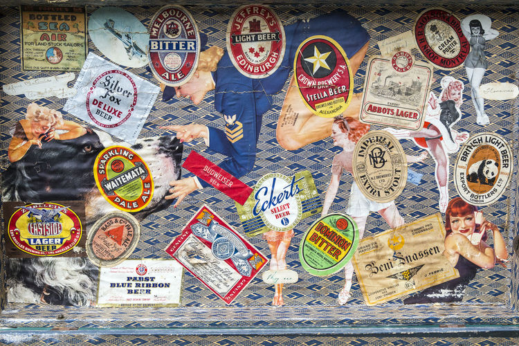 Australian Beer Backgrounds Chance Close-up Day Full Frame Gambling Large Group Of Objects Luck No People Old Beer Labels In Suitcase Text