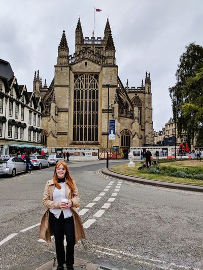 Bath England Roman Bath Kassandraleighmoore City Clock Portrait Young Women Sky Architecture Visiting Tourist Tourism Gothic Style Cathedral Tourist Attraction