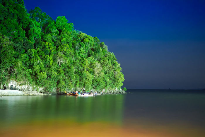 Beauty In Nature Clear Sky Day Green Color Nature Nautical Vessel Night Night Sea No People Outdoors Scenics Sea Sky Tranquil Scene Tranquility Tree Water Waterfront