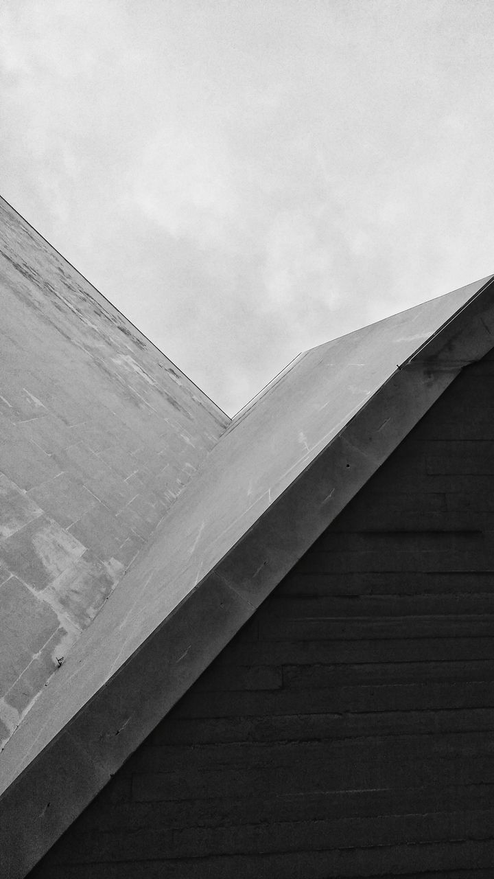 architecture, built structure, sky, day, no people, low angle view, building exterior, cloud - sky, nature, wood - material, outdoors, wall - building feature, wall, pattern, concrete, building, wood, close-up, bridge, connection