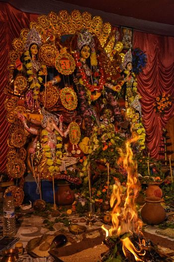 The Holy Flame of Yagna Asansol Durga Durgapuja Durga Puja Religion Hindu Religion Hinduism Yagna Yajna Puja Illuminated Celebration Tradition Close-up Place Of Worship Flame Burning Fire