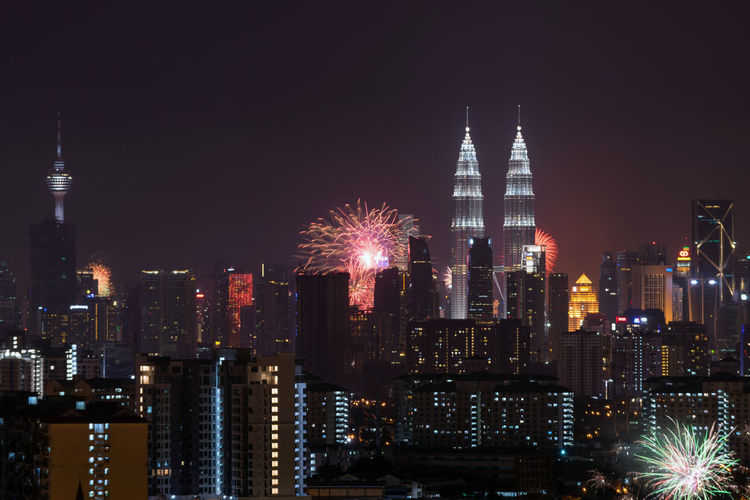 New year's eve 2016 celebration over downtown kuala lumpur, malaysia.