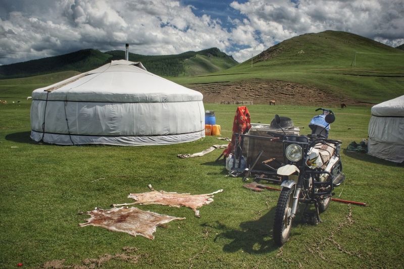 Day Yurt Mongolia Steppe Animal Hides Motorcycle Nomadic Nomadic Life Монгол улс гэр Outdoors Sky Cloud - Sky Rural Scene Sky Grass Landscape