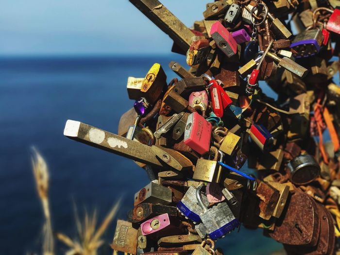Clear Sky Day Outdoors Love Lock Padlock Love Lock Security Hope Safety Protection Metal Railing Hope - Concept Abundance Oath Water Hanging Large Group Of Objects Heart Shape Bridge - Man Made Structure No People