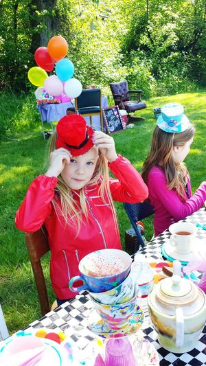 Tea Party Anyone? Alice In Wonderland Mad Hatter Beautiful Day Girls Playing Birthday Hanging Out People And Places