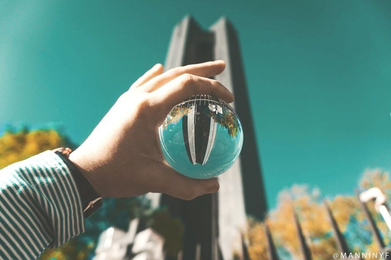 | Spherical Odyssey .2 | Reflection Streetphotography Urban Exploration Mirror Crystal Ball Travel Photography Touristing  Sonyalpha Pretoria, South Africa Sonyphotography Building Exterior City CBD