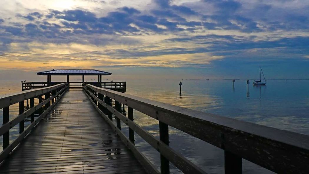 Rise and Shine Sailboat Pier Sea Water Sky Sunset Cloud - Sky Beach Reflection Horizon Over Water Outdoors