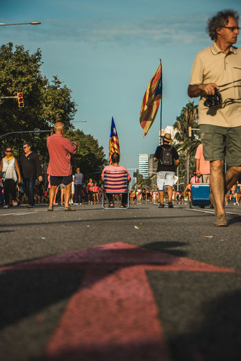 Barcelona, Spain - 09.11.2018 National day of Catalunya (Diada de Cataluña) Barcelona Barcelona, Spain Catalunya SPAIN Adult City Crowd Day Flag Group Of People Leisure Activity Lifestyles Manifestation Men Nature Outdoors Patriotism People Real People Rear View Road Sky Street Women