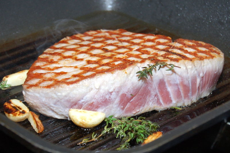 Close-Up Of Tuna On Grill