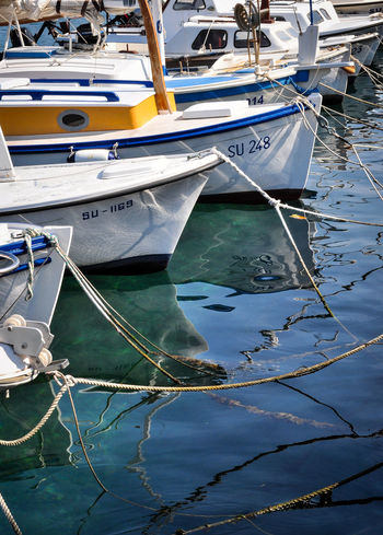 Boat Boats Close-up Croatia Day Mode Of Transport Moored Nautical Vessel No People Outdoors Reflection Ship Ships Transportation Water Water Reflections Yacht Yachting