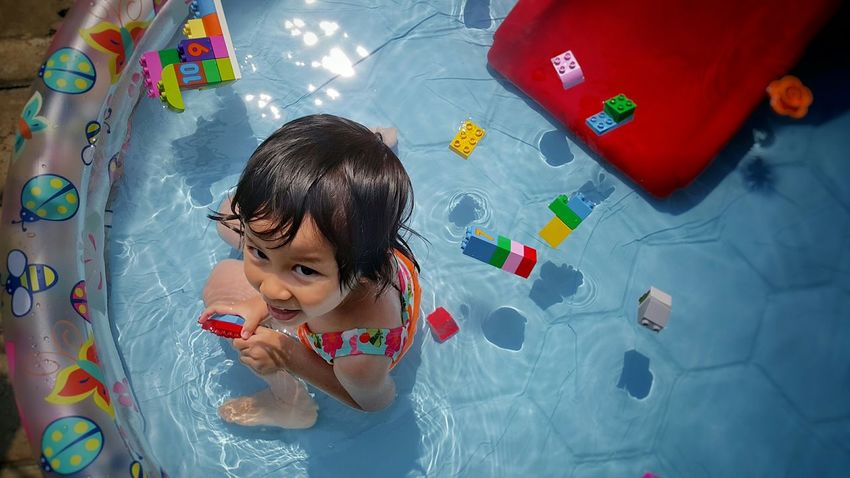 Jannadia Cute Daughter Little Girl Fun Swimming LEGO Duplo Bandung INDONESIA
