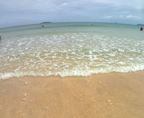 Beach Sea Sand Water Outdoors Sky Nature Cloud - Sky Landscape Day Beauty In Nature Tranquility No People Scenics Travel Destinations Horizon Over Water Low Tide Fish-eye Lens Waterproof Camera Waves, Ocean, Nature Sea And Sky Sea_collection Ocean View