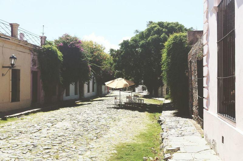 Narrow walkway along buildings