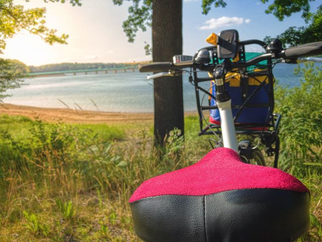 Bike Adventure Sport E-bike Bicycle Lake Water Nature Outdoors Saddle Bike Tour North Rhine Westphalia, Summer Landscape Nature Sun Lens Flare Lifestyle Bridge Point Of View Motor Electric Pedelec Tour Moehnesee, Let's Go. Together. Let's Go. Together.