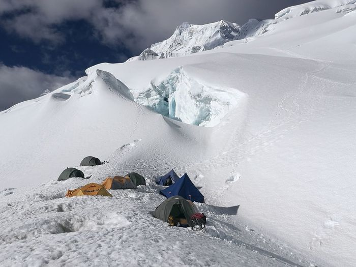 High camp on Chopicalqui. CordilleraBlanca Peru Andes Snow Mountain Adventure Outdoors Glacier Mountaineering Camping